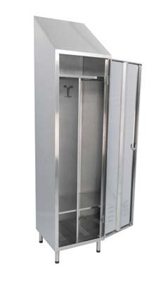 Stainless steel changing cabinet, with one swing door