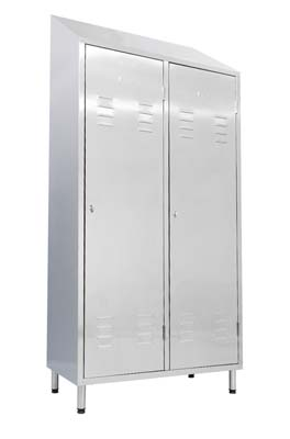 Stainless steel changing cabinet, with two swing doors