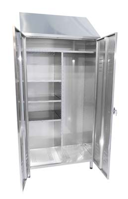 Stainless steel cabinet for cleaning equipment, with two swing doors