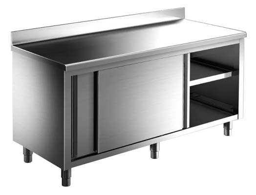 Stainless steel table with or without back edge and sliding doors