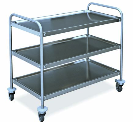 Stainless steel trolleys with 3 shelves