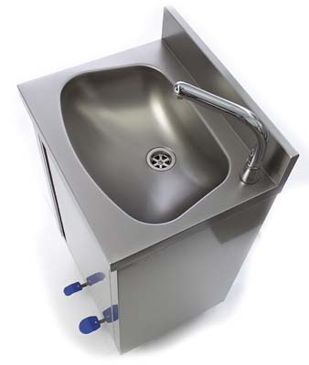 Stainless steel hand-rinse basin with pedal
