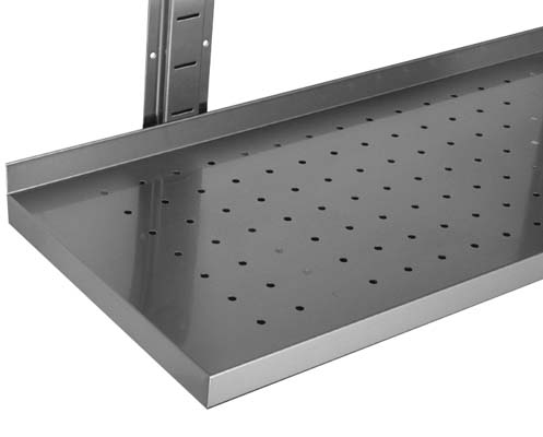 Perforated stainless steel shelves