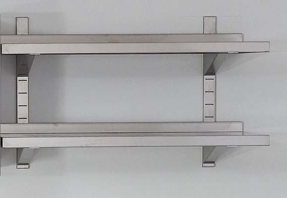 Stainless steel shelves with back edge