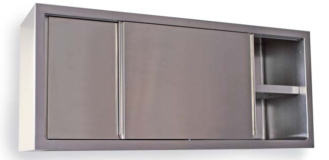 Stainless steel cupboards with sliding doors